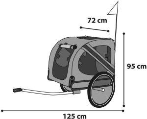 schematische tekening van afmetingen hondenfietskar