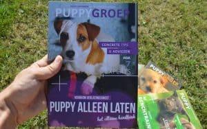 puppygroep boek over het alleen laten van je puppy vastgehouden in een grasveld