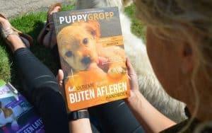 puppygroep boek over het afleren van het bijten van je puppy vastgehouden in een grasveld