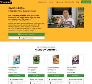screenshot van de website van puppygroep